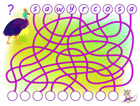 Logic puzzle game for study English with labyrinth. Find the correct places for letters, write them in relevant circles and read the word. Printable worksheet for kids textbook. Back to school.