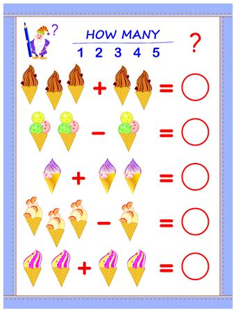 Educational page for children on addition and subtraction. Solve examples, count the quantity of ice creams and write numbers in circles. Printable mathematical worksheet for kids textbook.