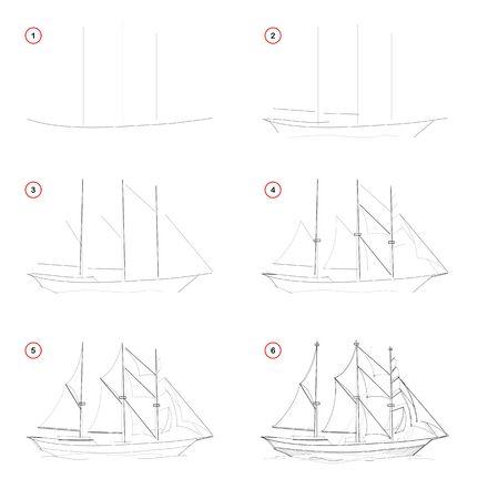 Création pas à pas de dessin au crayon. La page montre comment apprendre à dessiner un voilier imaginaire à trois mâts. Manuel scolaire pour développer les compétences artistiques. Image vectorielle dessinée à la main. Vecteurs