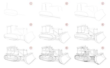 Creation step by step pencil drawing. Page shows how to learn draw sketch of powerful tractor with blade for clearing ground. School textbook for developing artistic skills. Hand-drawn vector image.
