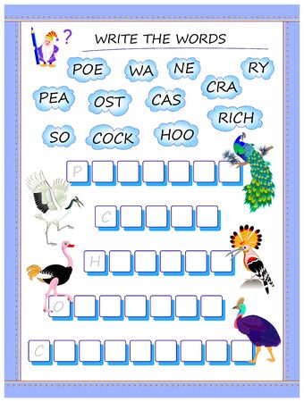 Logic puzzle game for study English. Collect words from the clouds, find the correct places for letters and write the names of the birds. Printable worksheet for kids textbook. Back to school.