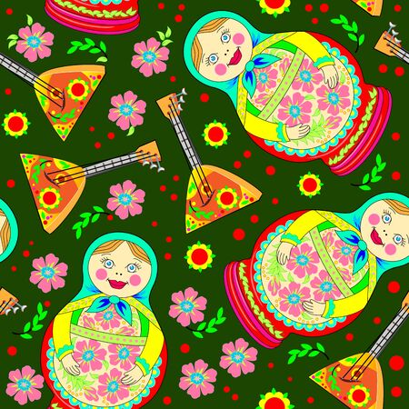 Seamless pattern ornament with Russian doll Matryoshka and musical instrument balalaika scattered on green background. Eastern ethnic decoration. Modern popular print for wallpaper and textile.