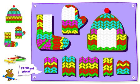 Logic puzzle game for kids. Find suitable piece of knitted fabric and draw in empty places of clothes. Worksheet for school textbook. Printable page for brainteaser book. Development children skills.