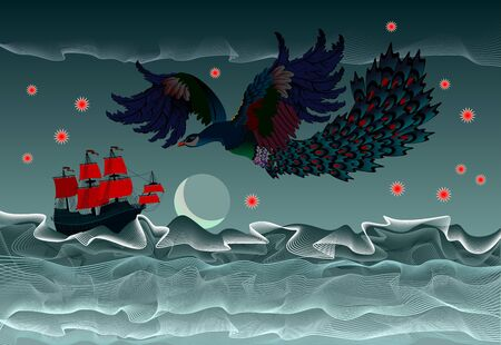 Background with fantastic illustration of ancient sailboat and flying fairy tale fire-bird. Stormy sea waves in form of abstract lines meandering. Print for poster of tourism company or kids book.