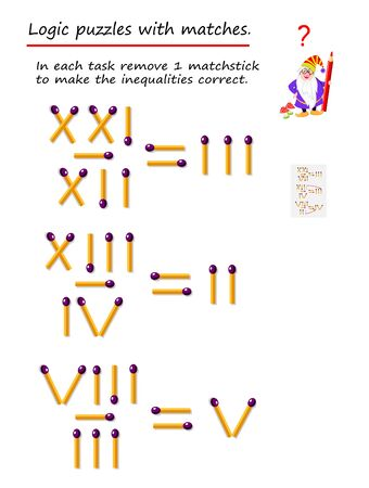 Logical puzzle game with matches. In each task move 1 matchstick to make the inequalities correct. Division task with roman numerals. Printable page for brainteaser book. Developing spatial thinking. Vector image.