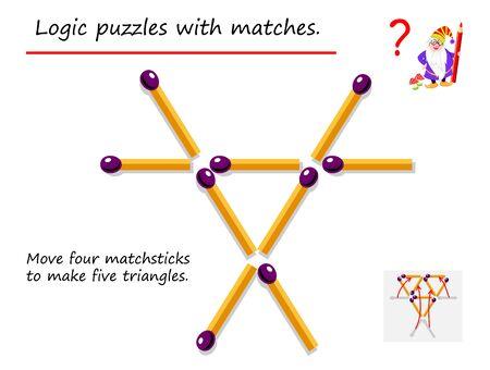 Juego de rompecabezas lógico con fósforos. Necesita mover cuatro cerillas para hacer cinco triángulos. Página imprimible para libro de rompecabezas. Desarrollando el pensamiento espacial. Imagen vectorial.