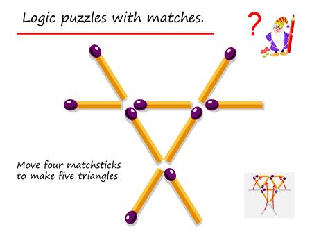 Logical puzzle game with matches. Need to move four matchsticks to make five triangles. Printable page for brainteaser book. Developing spatial thinking. Vector image.  イラスト・ベクター素材