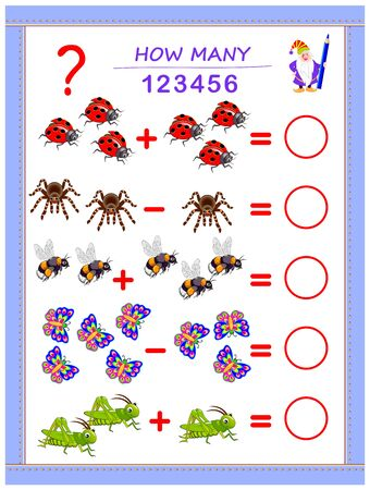 Educational page for children on addition and subtraction. Solve examples, count the quantity of insects and write numbers in circles. Printable mathematical worksheet for kids textbook.