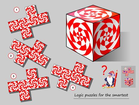 Logic puzzle game for smartest. Need to find the template which matches to the cube. Printable page for brainteaser book. Developing spatial thinking. Vector cartoon image.