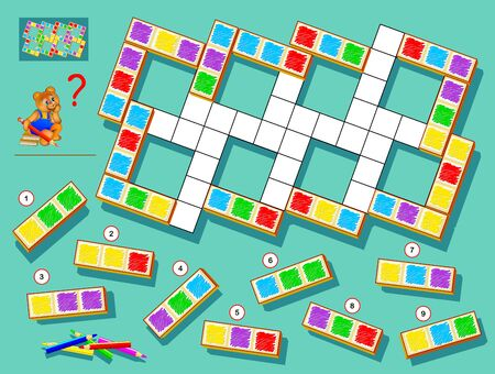 Logic puzzle game for children and adults. Find correct places for remaining blocks and paint white squares respecting domino rules. Printable page for brainteaser book. Developing spatial thinking.