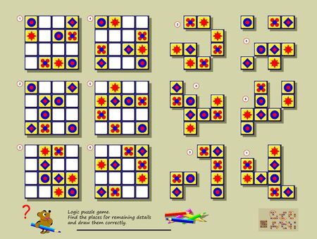 Logic puzzle game. Need to find correct places for each of geometrical figures to complete empty places and draw them with regularity. Printable page for brainteaser book. Developing spatial thinking. Illustration