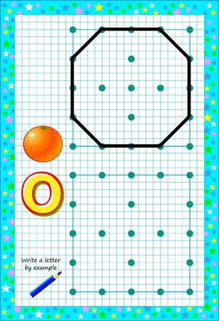 Educational page for little children on square paper. Write letter by example. Logic puzzle game. Developing baby skills of drawing and writing. Printable worksheet for kids textbook. Back to school.