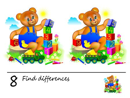 Logic puzzle game for children. Need to find 8 differences. Printable page for kids brainteaser book. Cute teddy bear is playing with cubes and learning numbers. Developing counting skills. Illustration