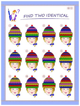 Logic puzzle game for little children. Need to find two girls with identical caps. Educational page for kids. Printable worksheet for baby book. Back to school. Vector cartoon image.