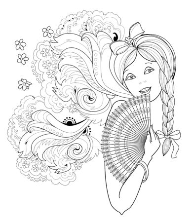 Black and white page for coloring book. Fantasy drawing of beautiful girl with fan. Portrait of woman with fashionable hairstyle. Pattern for modern print, embroidery, decoration. Hand-drawn.