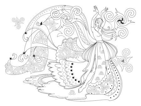Página en blanco y negro para colorear libro. Dibujo de fantasía de bailarina celta en vestido hermoso. Patrón para estampado moderno, bordado, decoración. Imagen vectorial dibujada a mano.