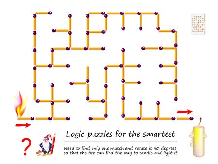 Logical puzzle game with labyrinth for children. Need to find only one match and rotate it 90 degrees so that fire can find way to candle and light it. Printable worksheet for kids brainteaser book. Illustration