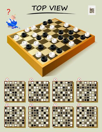 Gioco di puzzle di logica per i più intelligenti. Necessità di trovare la corretta vista dall'alto della scacchiera. Pagina stampabile per libro rompicapo. Sviluppare capacità di pensiero spaziale. Immagine del fumetto di vettore.