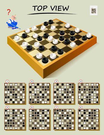 Juego de rompecabezas de lógica para los más inteligentes. Necesito encontrar la vista superior correcta del tablero de ajedrez. Página imprimible para libro de rompecabezas. Desarrollar habilidades de pensamiento espacial. Imagen de dibujos animados de vector.
