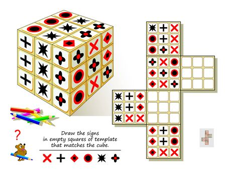 Logic puzzle game for smartest. Draw the signs in empty squares of template that matches the cube. Printable page for brain teaser book. Developing spatial thinking skills. Vector cartoon image.