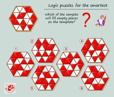 Logic puzzle game for smartest. Which of the samples will fill empty places on the template? Printable page for brainteaser book. Developing spatial thinking. Vector cartoon image.