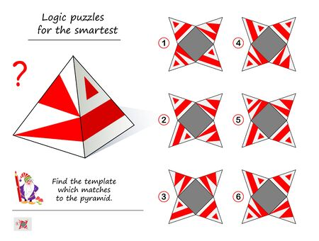 Logic puzzle game for smartest. From which sample can you install this pyramid? Printable page for brainteaser book. Need to find the template which matches to pyramid. Developing spatial thinking. Illustration