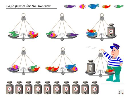 Mathematical logic puzzle game. Help the fisherman to calculate the weight of fish. What weight must put on weighing scales? Printable page for brainteaser book. Developing spatial thinking skills.