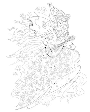 Black and white page for coloring book. Fantasy drawing of beautiful Gothic princess playing music on mandolin. Pattern for modern print, embroidery, decoration. Hand-drawn vector image.