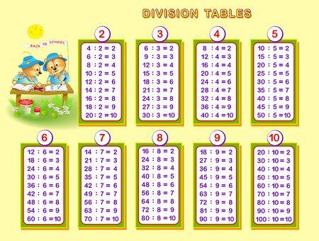 Tablas de división para niños pequeños. Página educativa para el libro de matemáticas para bebés. De vuelta a la escuela. Hoja de trabajo imprimible para libros de texto para niños. Imagen de dibujos animados de vector.