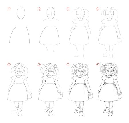 Creation step by step pencil drawing. Page shows how to learn draw sketch of imaginary cute little girl. School textbook for developing artistic skills. Hand-drawn vector image.