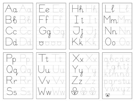 Set of black and white educational pages on line for kids. Trace alphabet letters. Printable worksheet for children textbook. Developing skills of writing. Vector for baby book. Back to school. Illustration