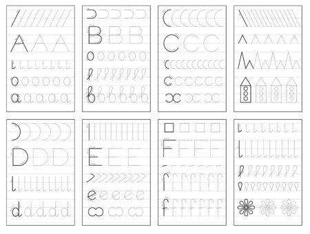 Set of black and white educational pages on line for kids book. Trace alphabet letters from A to F. Printable worksheet for children textbook. Developing skills of writing. Back to school.