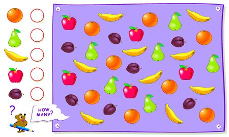 Printable educational page for kids. Count the quantity of fruits and write the numbers in circles. Worksheet for baby book. Logical puzzle game. Back to school. Development counting skills. Illustration