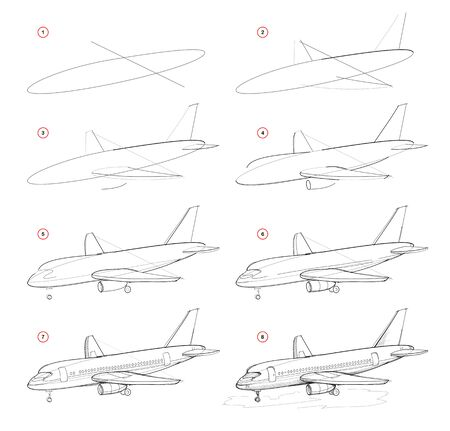 Creation step by step pencil drawing. Page shows how to learn draw sketch of modern passenger aircraft. School textbook for developing artistic skills. Hand-drawn vector image.