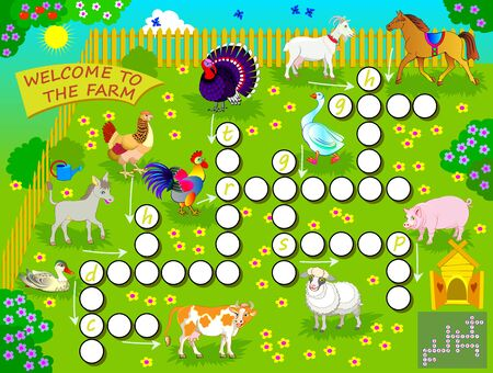 Crossword puzzle game with domestic farm animals. Educational page for children for study English language and words. Printable worksheet for kids textbook. Back to school. Vector cartoon image.