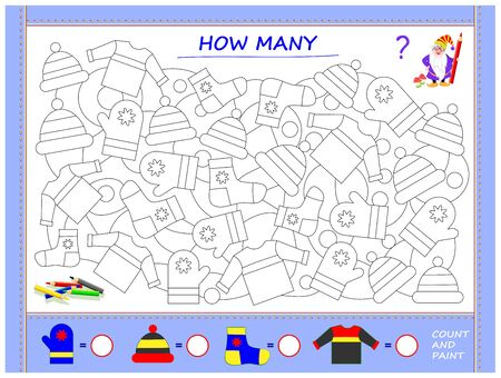 Educational page for little children on math. Find clothes, paint them, count the quantity and write numbers in circles. Printable worksheet for kids mathematics school textbook. Baby coloring book.