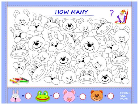 Educational page for little children on math. Find animals, paint them, count the quantity and write numbers in circles. Printable worksheet for kids mathematics school textbook. Baby coloring book. Illustration
