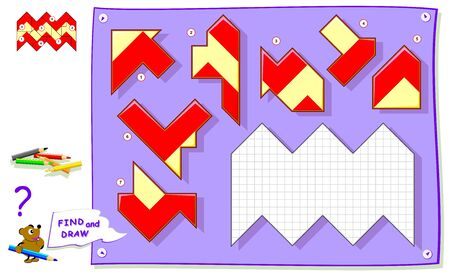 Logic puzzle game for baby coloring book. Need to find the place for each detail and paint white squares. Worksheet for kids textbook. Back to school. Development of children spatial thinking skills.
