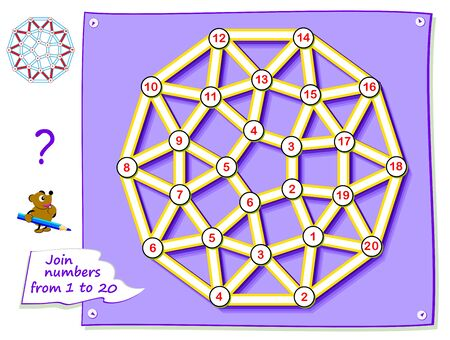 Logic puzzle game for young children with labyrinth. Trace the line and draw the magic star connecting numbers from 1 to 20. Worksheet for kids school textbook. Developing counting skills. Illustration