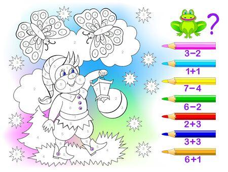 Página educativa con ejercicios para niños sobre sumas y restas. Resuelve ejemplos y pinta el gnomo con colores relevantes. Desarrollar habilidades para contar. Hoja de trabajo imprimible para libros de texto para niños.