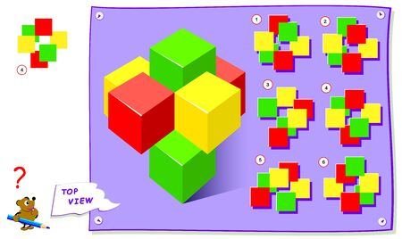 Logic puzzle game for kids. Need to find correct top view of cubes. Worksheet for school textbook. Printable page for brainteaser book. Development of children spatial thinking skills. Illustration