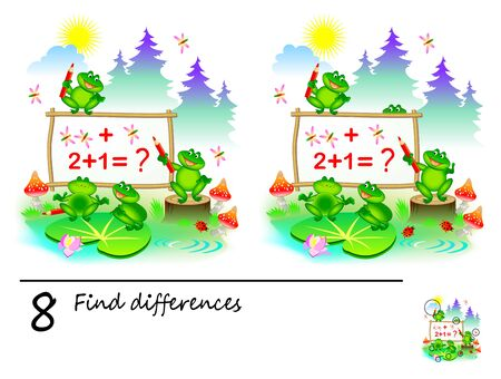 Logic puzzle game for children. Need to find 8 differences. Printable page for kids brainteaser book. Cute frogs are learning math and counting numbers. Developing counting skills.