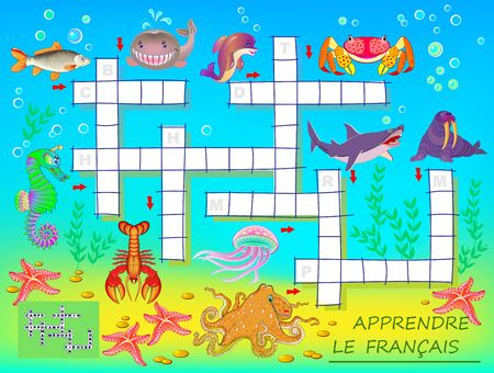 Learn French. Crossword puzzle game with sea animals. Educational page for children for study French language and words. Printable worksheet for kids textbook. Back to school. Vector cartoon image. Çizim