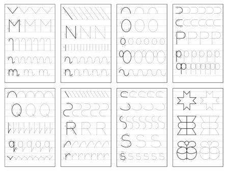 Set of black and white educational pages on line for kids book. Trace alphabet letters from M to S. Printable worksheet for children textbook. Developing skills of writing. Back to school.