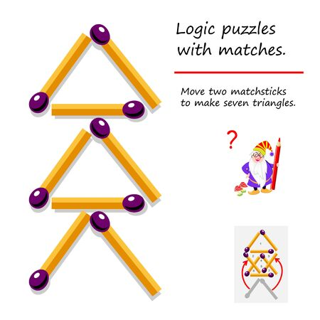 Logical puzzle game with matches. Need to move two matchsticks to make seven triangles. Printable page for brainteaser book. Developing spatial thinking skills. IQ training test. Vector image.