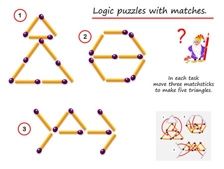 Logical puzzle game with matches. In each task need to move three matchsticks to make five triangles. Printable page for brainteaser book. Developing spatial thinking skills. IQ training test. Vector image.