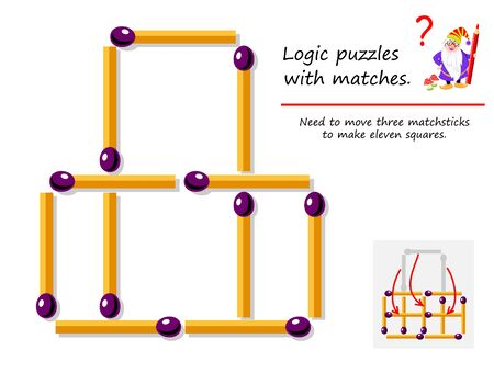 Logical puzzle game with matches. Need to move three matchsticks to make eleven squares. Printable page for brainteaser book. Developing spatial thinking skills. IQ training test. Vector image.