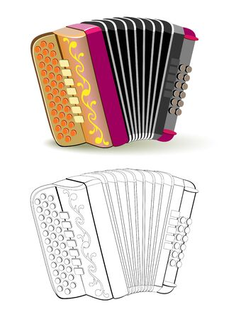 Colorful and black and white pattern for coloring. Fantasy illustration of musical instrument French button accordion. Worksheet for coloring book for children and adults. Vector image.