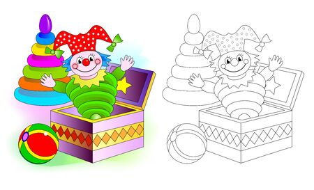 Colorful and black and white pattern for coloring. Set of cute baby toys with clown, ball and pyramid. Worksheet for coloring book for kids. Development children drawing skills. Vector image.