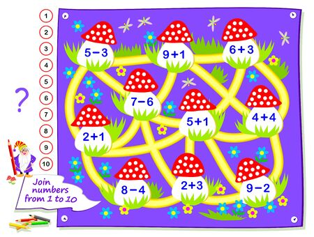 Logic puzzle game for little children. Math labyrinth for kids school textbook. Solved examples, draw path to connect mushrooms consequently with numbers from 1 to 20. Development counting skills.